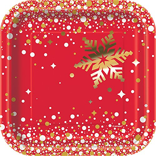 Square Foil Gold Sparkle Christmas Paper Cake Plates, 8ct]()