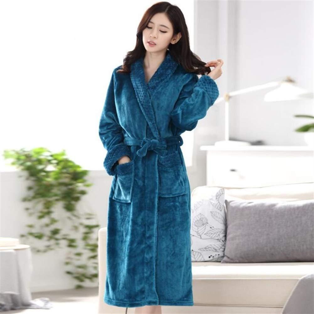 Yhcean Frottee-Bademantel Lang-Art Flanell-Bademantel-Paar-Bademantel-warme Nachthemd-Winter-Pyjamas-Blau Wrap Nachtwäsche (Farbe : Blau, Größe : M)