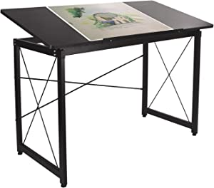 "H&A 47""x 24"" Tiltable Drawing Desk Drafting Table Wood Surface Craft Station Versatile for Painting Writing Studying and Reading (Black)"