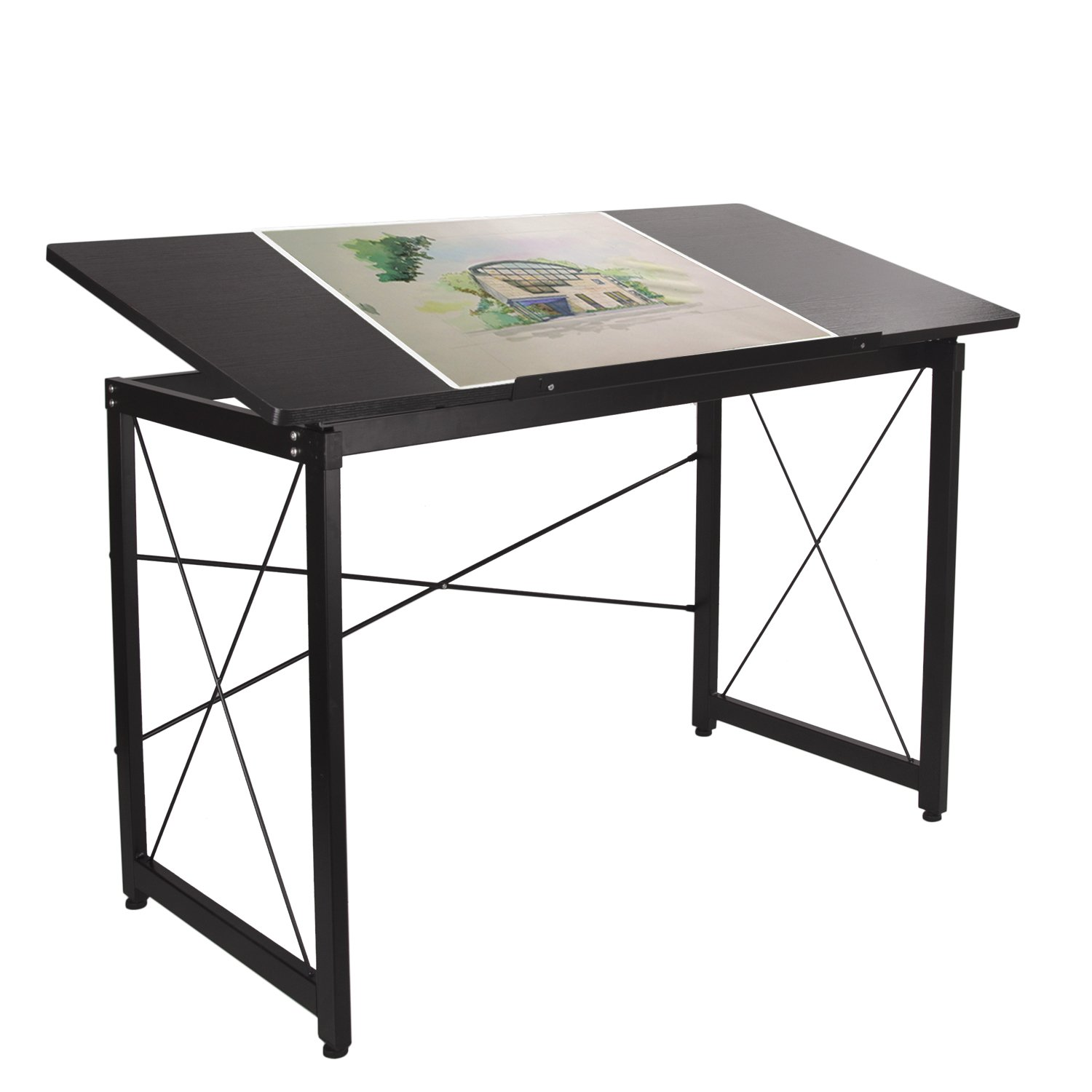 Elevens 47'' Adjustable Drafting Table - Art and Craft Drawing Folding Desk - Reading & Writing Work Station (Black) by Elevens