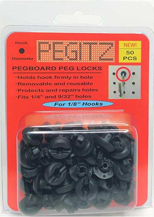 HAPY SHOP Pegboard Hook Locks 120 PC Black Plastic Peg Locks Peg Board Hook Accessories Pegboard Display Hook Organizer