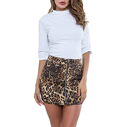AchidistviQ Sexy Mujer Cremallera Delantera Leopardo Impresión ...