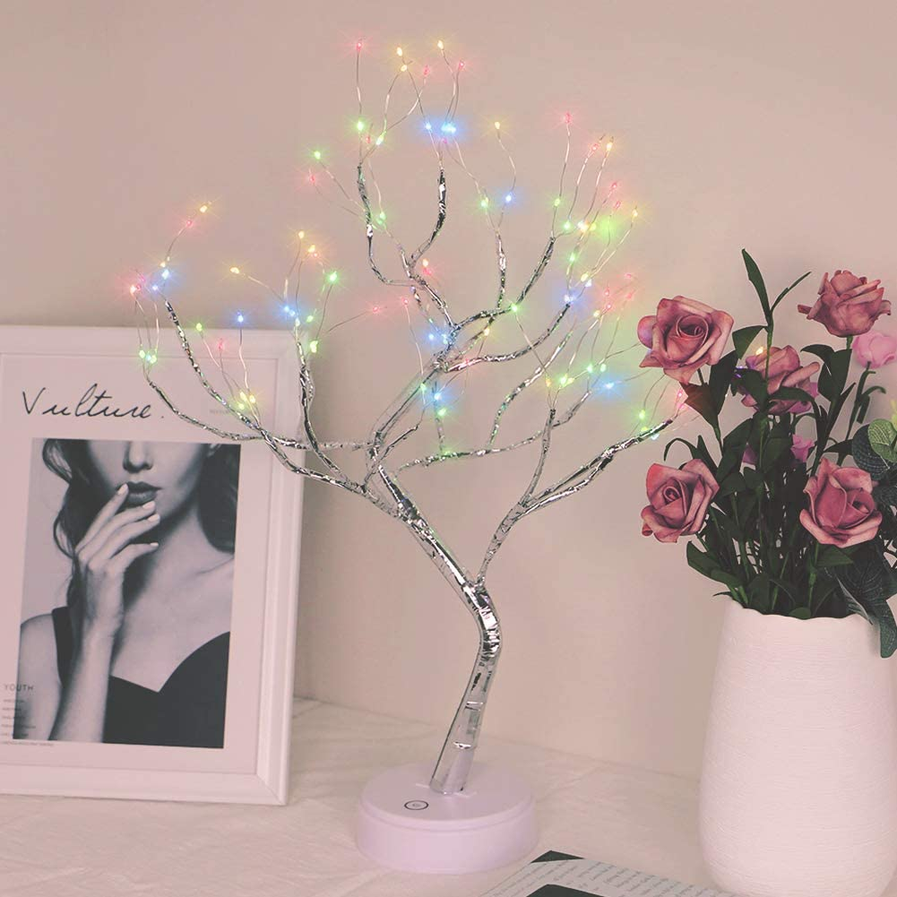 Qunlight Upgraded Copper Wire Tree Branch Decorative No Heat Lights,USB&Battery Powered,20Inch 108 Warm White LED,Table Lamp for Home Decoration,Wedding Sign(Warm White) (108LED, Multicolor)