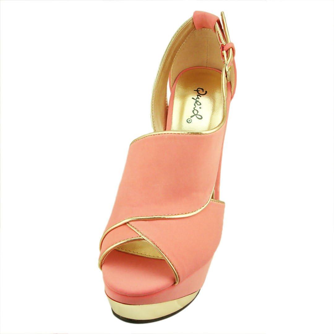 Qupid Womens Count44 Nubuck Metallic Open Toe Platform Sandal