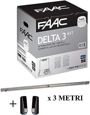 Faac Promo Delta 3 - Kit de automatización para puertas correderas, peso máximo 900 kg, motor 230 V 105630445 + 1 par de fotocélulas 785102 + cremallera Hiltron incluida: Amazon.es: Bricolaje y herramientas