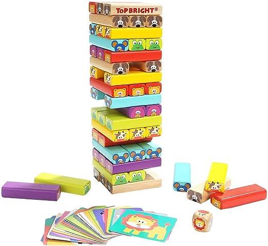 Yunt-11 Torre de Madera Block Colores Juegos de construcción, 4 en 1 Animal Tumbling Tower Juego de apilamiento para Adultos y niños, 51 Bloques de Madera, 24 Piezas de cartón, un Dado: Amazon.es: Hogar
