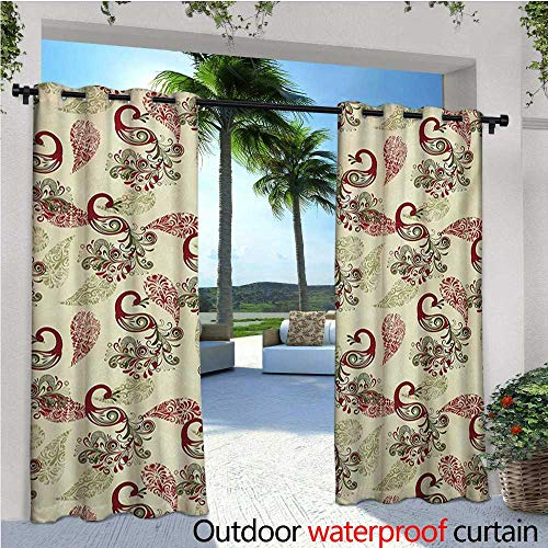 homehot Peacock Exterior/Outside Curtains Winter Pattern with Stylized Peacocks Snowflakes Floral Paisley Ornate for Patio Light Block Heat Out Water Proof Drape W120 x L96 Ruby Olive Green Cream -