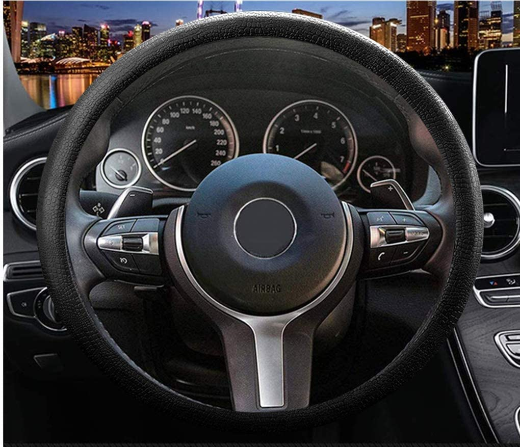 SENATOR Steering Wheel Cover for Cars Trucks and SUVs WAS01 15 inches M Black Leather PU Universal Fit with Slip Resistant Grip 38cm Auto Car Accessories for Men /& Women SEOPLS0801