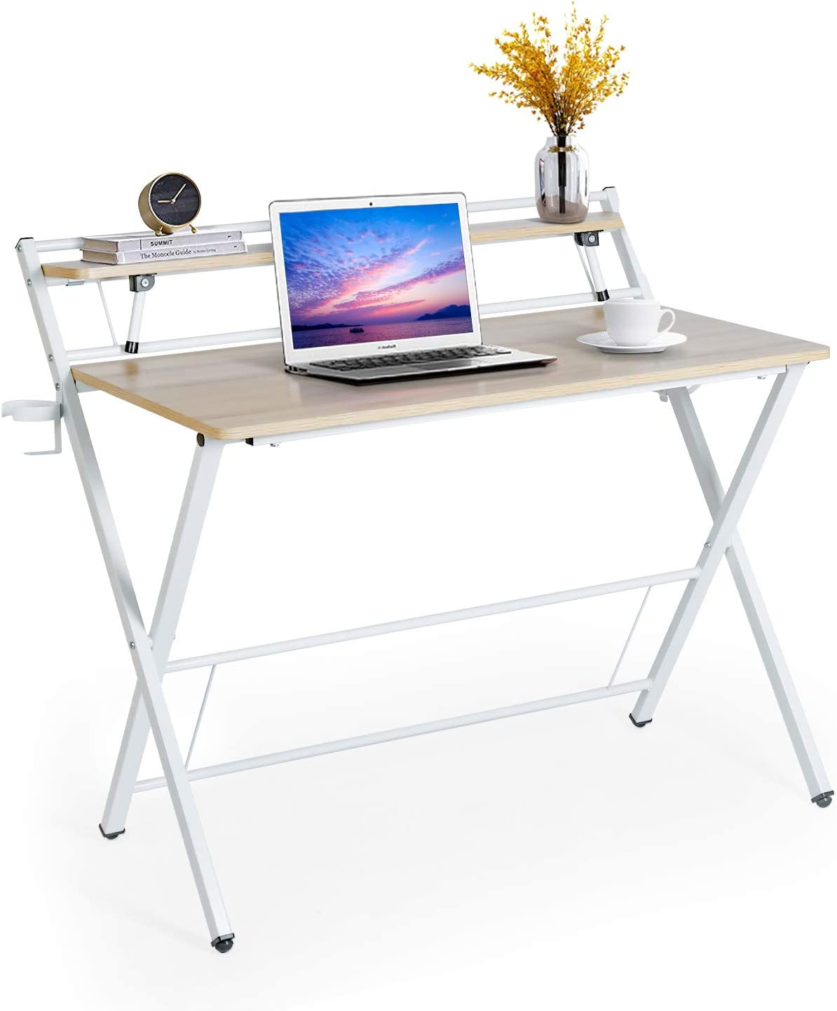 Computer Desk PC Laptop Table Workstation Study Home Office W// 2 Tier Shelves