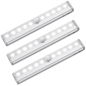 AMIR Closet Light, 10 LED Cabinet Light, Motion Sensor Light With 3 Pack DIY