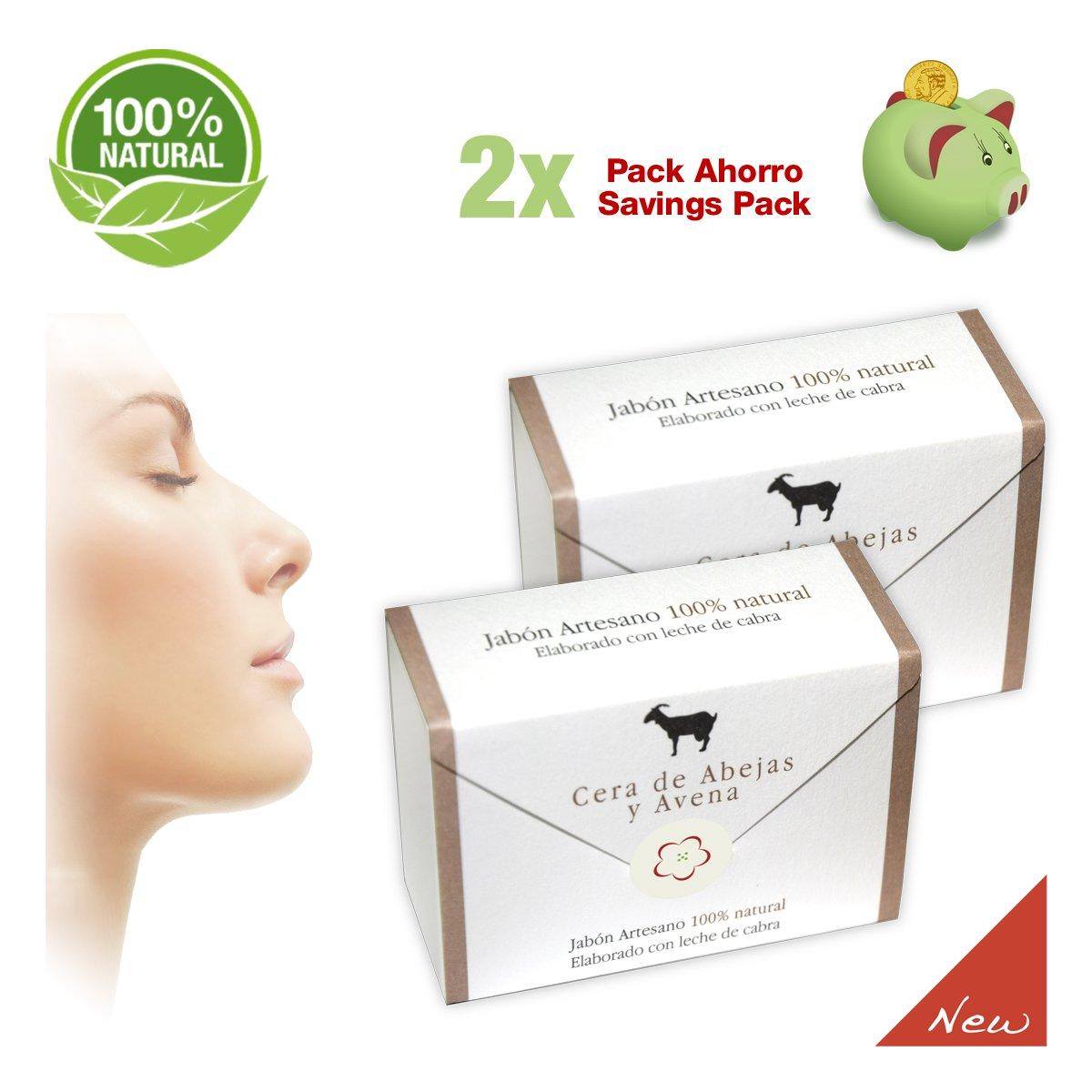 Jabones del Pirineo - Pack de 2 Jabones de Leche de Cabra con Cera de Abejas y Avena 100% Natural para Pieles Sensibles. Regenerador dérmico: Amazon.es: ...