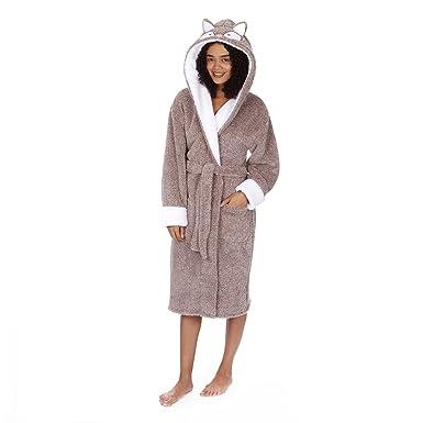 Ladies Owl Fox Dressing Gown Animal Hood Robe S M L XL (Large, Brown ...