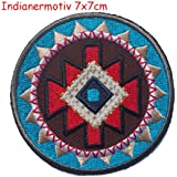 2 iron on patches Indian motive 7x7 and Star gray 7x7 - embroidered fabric appliques set by TrickyBoo Design Zurich