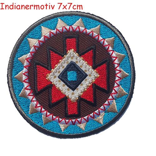 2 iron-on appliques set - Indian Round Motif 7X7Cm and Pig 7X6Cm embroidered application set by TrickyBoo Design Zurich Switzerland