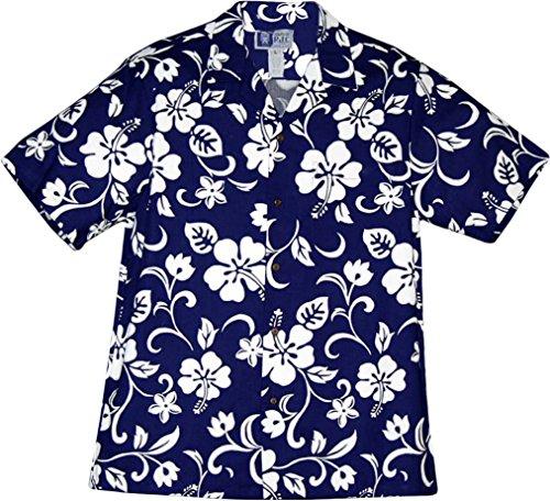 Hibiscus Hawaiian Shirt (RJC Brand Hibiscus Pareo Men's Hawaiian Shirt Royal Blue Large)