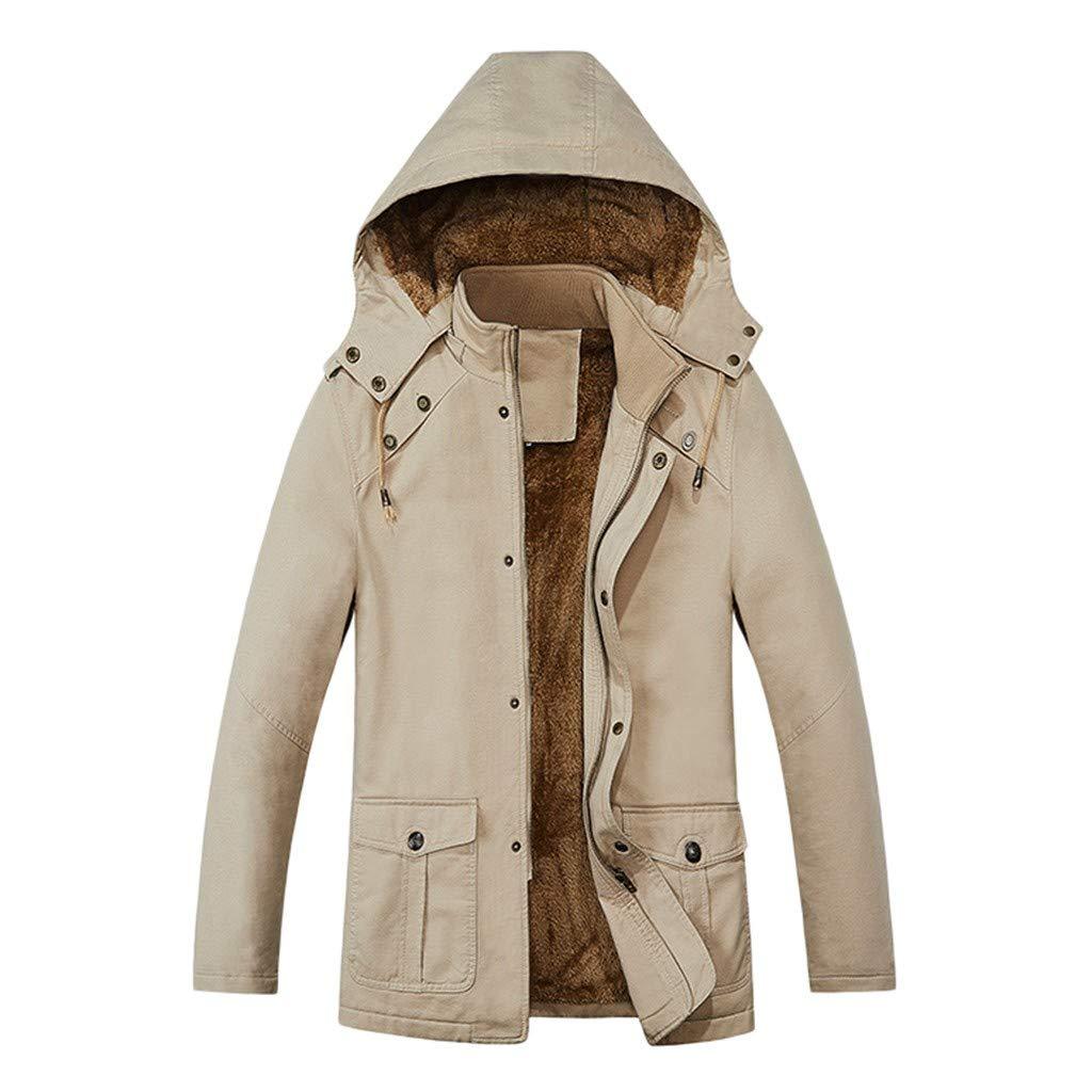 Gleamfut Mens Fleece Windbreaker Jacket Stand Collar Hooded Winter Windproof Zipper Jacket Coat Khaki by Gleamfut