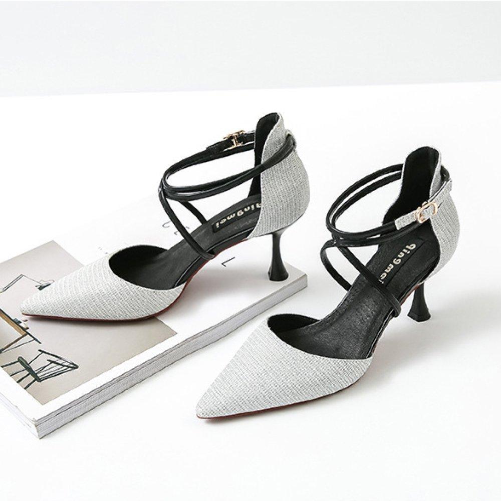 Frauen Sommer Strap Strap Strap Sandalen Sexy High Heels Abend Hochzeit Pumps Damen Klassische 5 CM Spitz Schuhe 546173