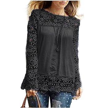 Blusa para mujer a la moda de encaje y manga larga, camisa casual, blusa
