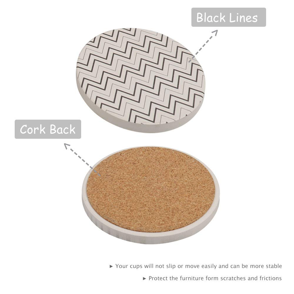 Black/&White Line with Holder Ceramic Coasters Absorbent for Drinks 4 Pack