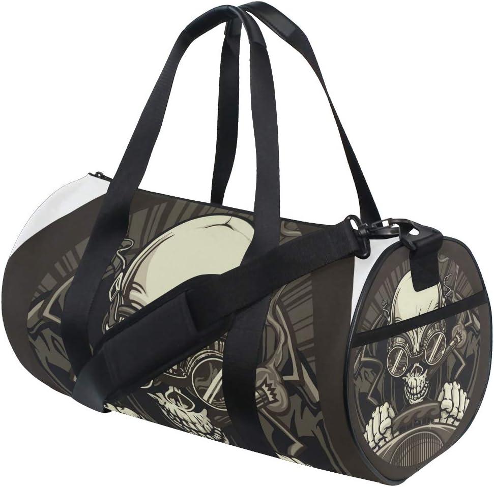 MALPLENA Skull Collection Drum Duffel Bag Gym bag Travel Bag