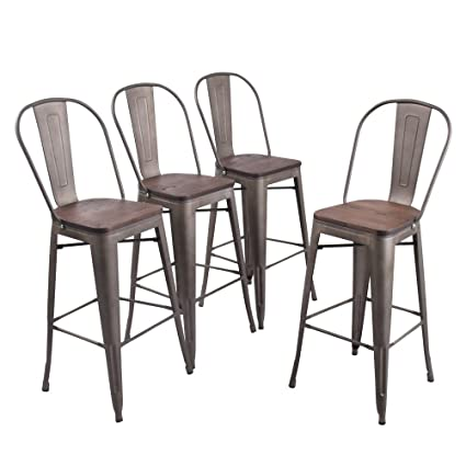 Amazoncom Andeworld Set Of 4 Tolix Style Counter Height Bar Chairs