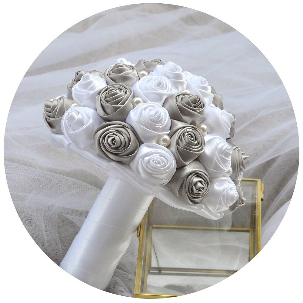 ulapan人工花ホーム装飾ウェディング、ブライダルBouquetsシルクRoses Bouquets、ブライズメイドブーケ花、のウェディングBouquets、f2 One Size ULA-F4-180511-Dark Grey B07D12NW8R F4-dark Grey