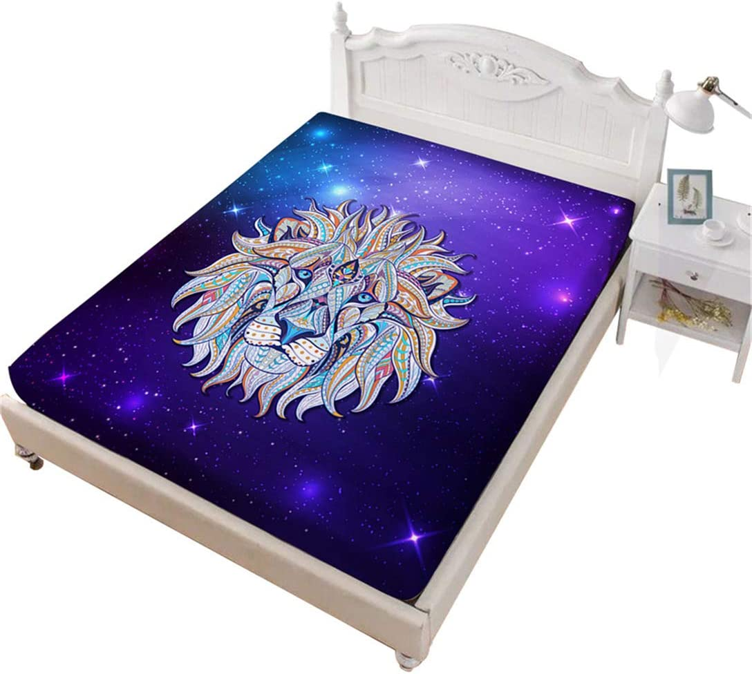 Junsey 3D Lion Fitted Sheet King Size,Purple Galaxy Sheet Colorful Animal Design Bedding for Home Decor