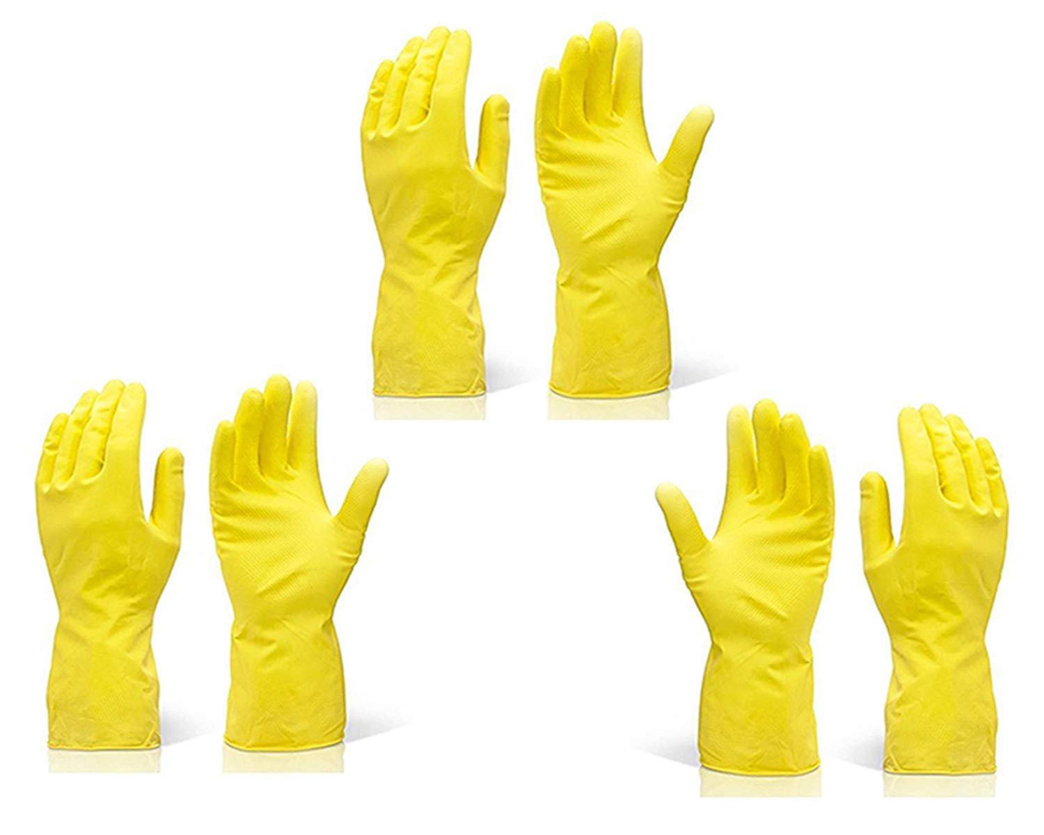 Rubber Hand Gloves Reusable Washing Cleaning Kitchen Garden (Color May Vary) (3 Pairs)