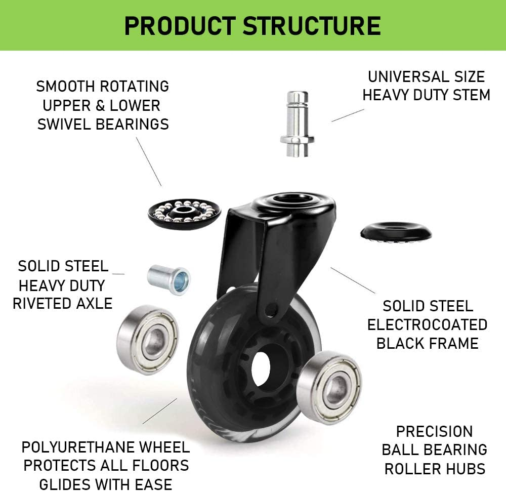"""Office Chair Caster Wheels, 3""""Heavy Duty Office Chair Wheels Replacement for Hardwood Floor, Smooth&Silent Chair Wheels 7/16""""X 7/8"""", Universal Fit for Herman Miller Office, Game, Desk Chairs : Office Products"""
