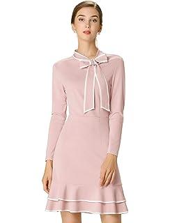 Allegra K Damen Langarm Stehkragen Asymmetrisch R/üsche Etuikleid Kleid