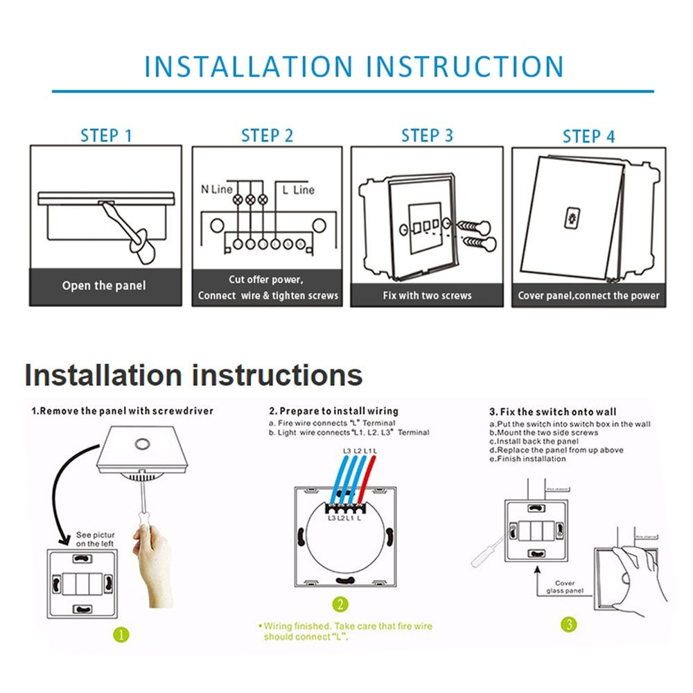 Wi Fi Smart Touch Screen Switch Noctilucente Backlight Function Eu Wire Light Uk L1 L2 L3 Standard Panel Remote Control Wall 1 Gang Way Glass
