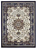 Nevita Collection Isfahan Persian Traditional Medallion Design Area Rug Rugs (Off-white Navy Blue , 2'8″ x 4′)