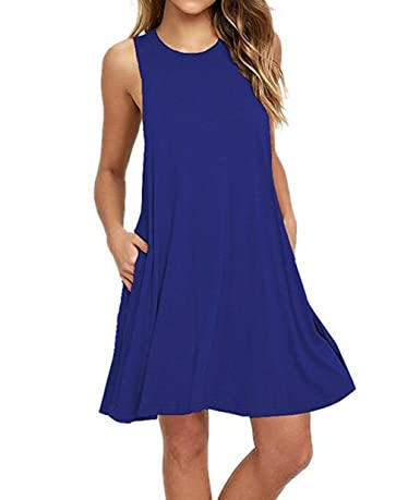 Women's Sleeveless Pockets Casual T-Shirt Dress Loose Tank Top Swing Summer Plus Size Dresses GABREBI - Price: $14.99 - $16.99 & Free Return on some sizes and colors