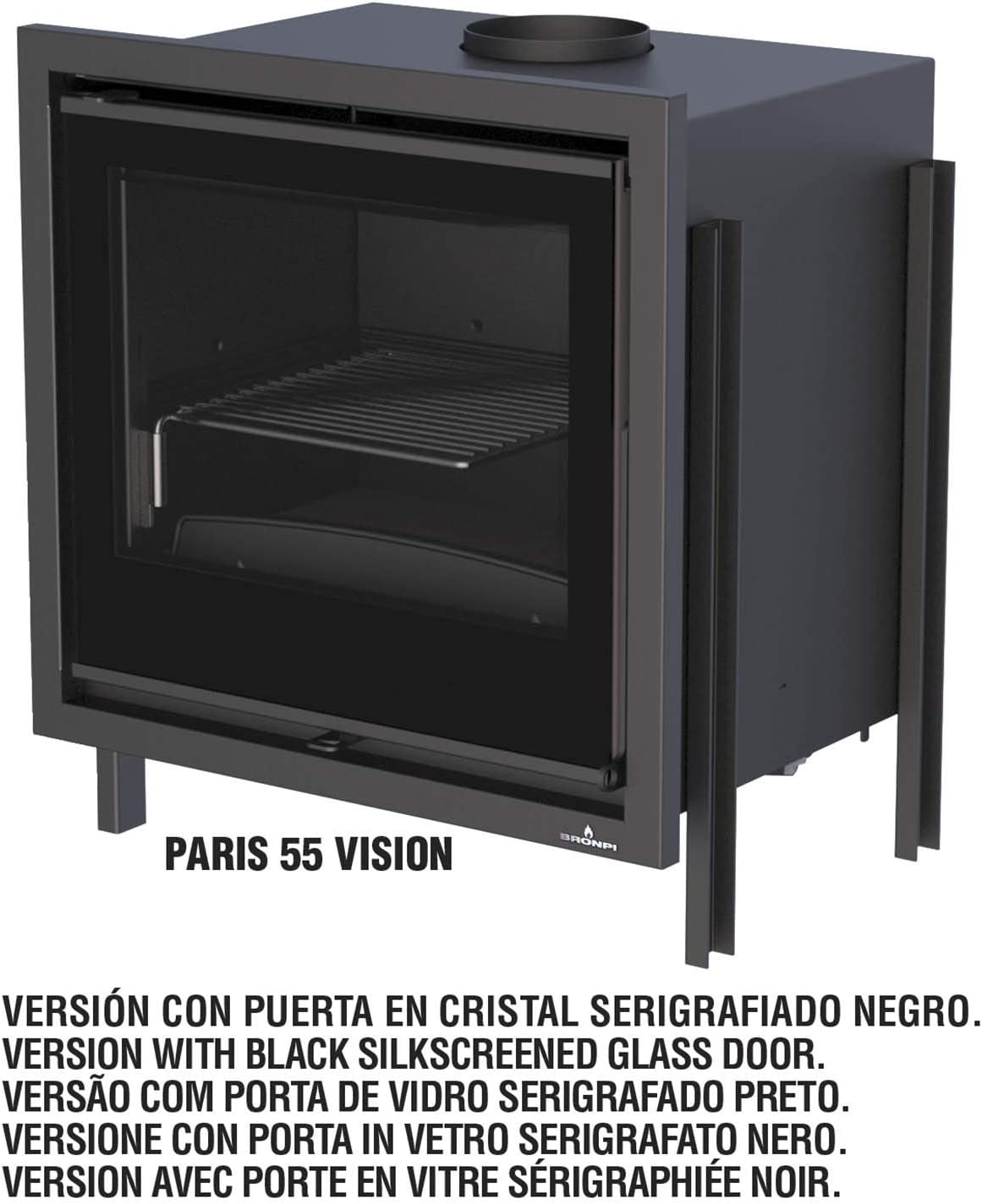 ESTUFA DE LEÑA INSERTABLE BRONPI MODELO PARIS 55 VISION