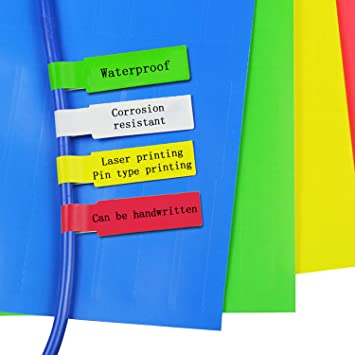 12 Assorted Colors 24 Sheets 720 Cable Label Stickers 12 Colors Nylon Cable Zip Ties A4 Size Waterproof Tear Resistant 720 Pcs Self-Adhesive Cable Label Tags