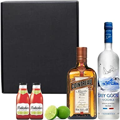 Cosmopolitan Cocktail Drink Gift Set in Matt Black Gift Box with Hand Crafted Gifts2Drink Tag: Amazon.co.uk: Grocery