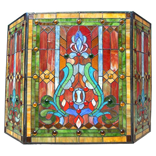 Chloe Lighting Victorian Stained Glass Fireplace Screen