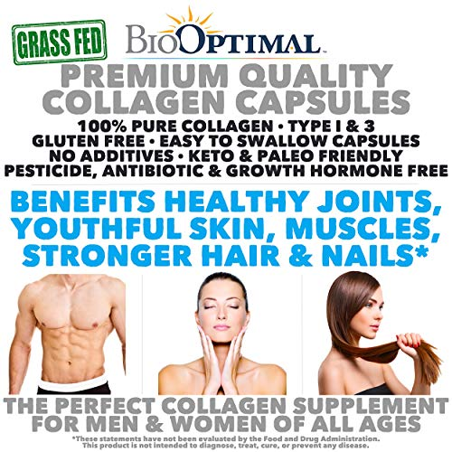 615u97i9OYL - BioOptimal Collagen Pills - Collagen Supplements, Grass Fed, 180 Capsules, Non-GMO, for Women & Men, Benefits Skin, Hair, Nails & Joints, Collagen Capsules, Premium Quality