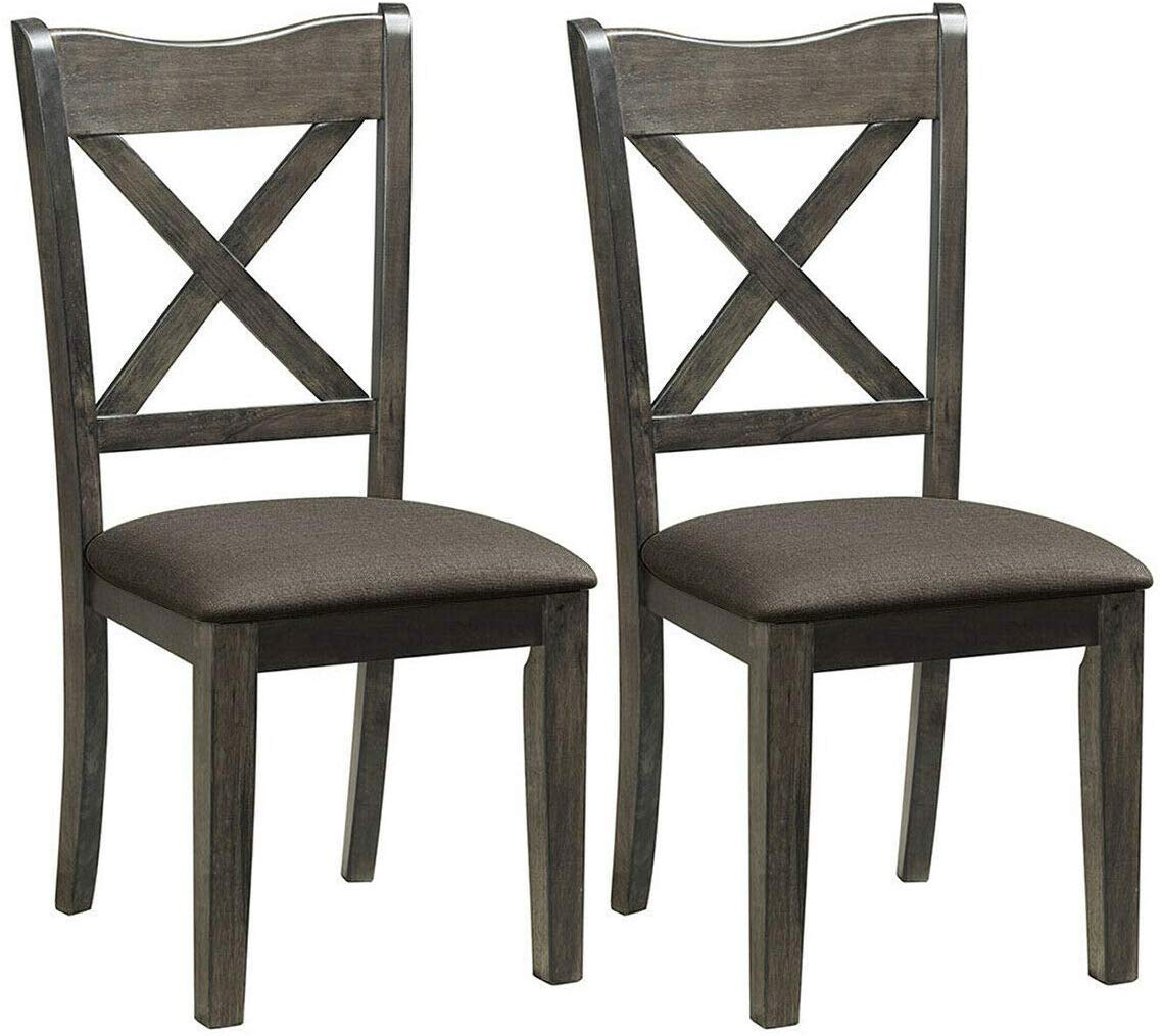 Giantex Set of 2 Dining Chairs, Rubber Wooden Dining Chairs w Upholstered Fabric Seat, Linen Patten Midcentury Modern Style Cushioned Chairs for Living Room and Dining Room, Dark Gray