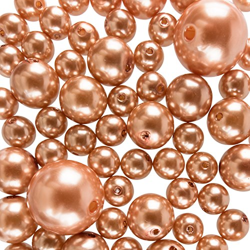 Super Z Outlet Elegant Glossy Polished Pearl Beads for Vase Fillers, DIY Jewelry Necklaces, Table Scatter, Wedding, Birthday Party Home Decoration, Event Supplies (8 Ounce Pack, 70 Pieces) (Gold)