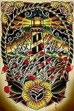 Tattoo Prints Best Deals - Last Port by Tyler Bredeweg Stormy Nautical Lighthouse Tattoo Artwork Art Print