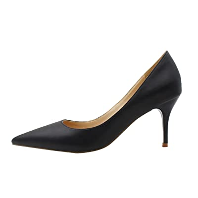 MiWIG Women's Pointy Toe Mid High Heels Solid Pumps Shoes | Pumps