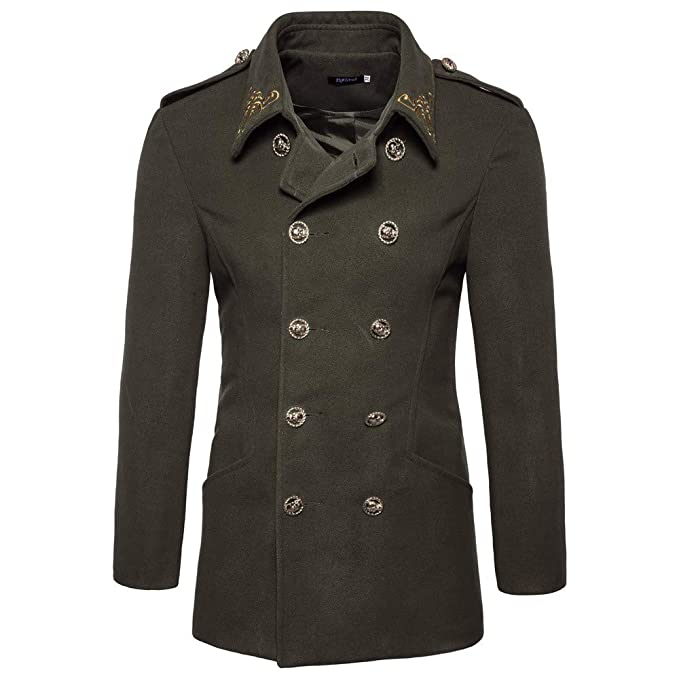 MODOQO Mens Trench Coat Double-Breasted Vintage Jacket Casual Outwear Overcoat
