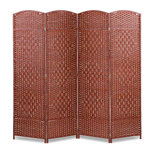 Yosooo Indoor Freestanding Room Divider,Folding 4 Panel Brown Wood Privacy Screen,Partition Screen for Home Office