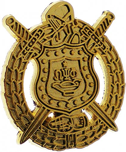 Omega Psi Phi Escutcheon Shield Polished Sandblasted Lapel Pin [Gold - 7/8