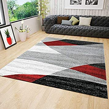 vimoda wohnzimmer teppich modern geometrisches muster gestreift meliert in rot grau wei schwarz 80x150 cm - Teppich Geometrisches Muster