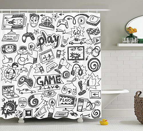 Video Games Shower Curtain Set by Black and White Sketch Style Gaming Design Racing Monitor Device Gadget Teen 90s Fabric Bathroom Decor with Hooks Blak White