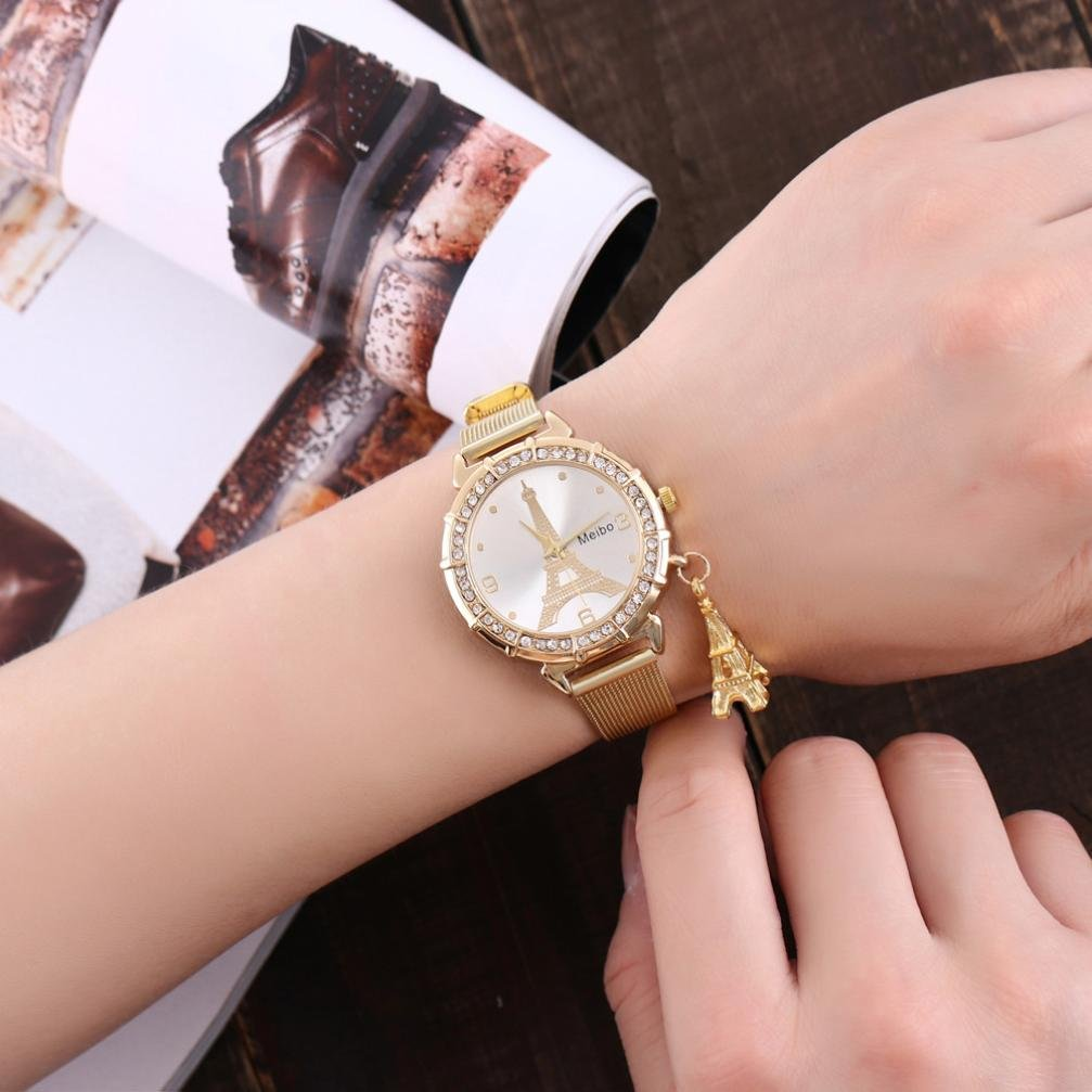 Hemlock Eiffel Tower Pendant Watches, Women Girls Stainless Steel Rhinestone Wrist Watch (Gold) by Hemlock (Image #2)
