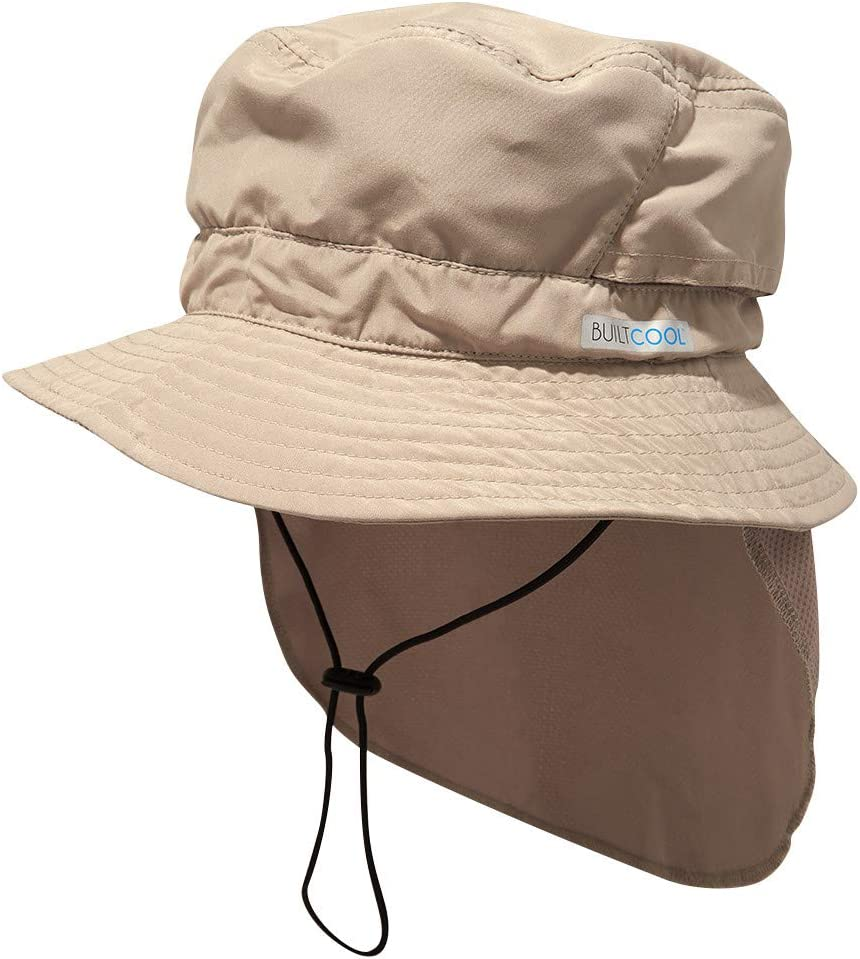 BUILTCOOL Adult Bucket Cap with Neck Shade – Boonie Hat, One Size, Khaki
