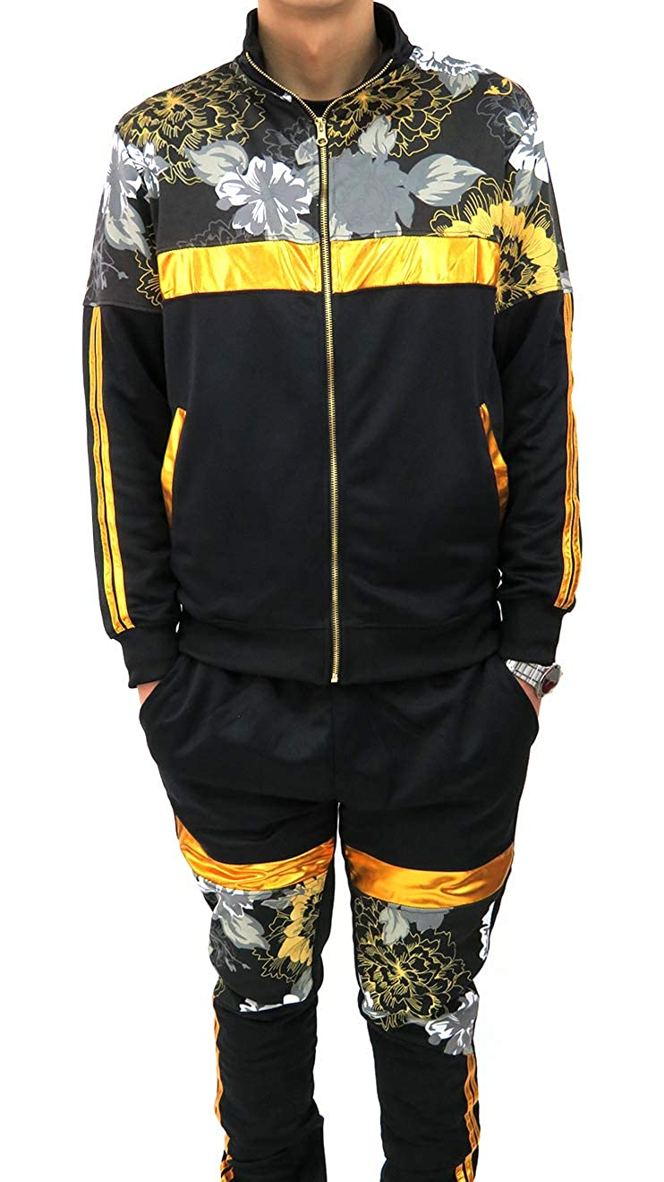 Track Jacket and Pants Henry /& William Mens Hipster Hip Hop Golden Floral Striped Print Fashion Tracksuit Sold Separately